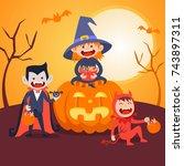 kids halloween vector set  | Shutterstock .eps vector #743897311