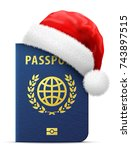 blue passport in red santa... | Shutterstock .eps vector #743897515