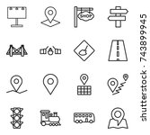thin line icon set   billboard  ... | Shutterstock .eps vector #743899945