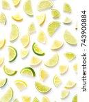 pattern of citrus fruits. lemon ... | Shutterstock . vector #743900884