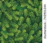 christmas tree background.... | Shutterstock .eps vector #743901244