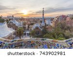 view of barcelone from the park ... | Shutterstock . vector #743902981