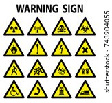 set of triangle yellow warning... | Shutterstock .eps vector #743904055
