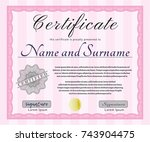 pink certificate diploma or...   Shutterstock .eps vector #743904475