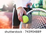 tennis. young man playing... | Shutterstock . vector #743904889
