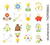 crowd funding icon set. funding ... | Shutterstock .eps vector #743908861