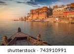 varanasi ganges river ghat with ... | Shutterstock . vector #743910991