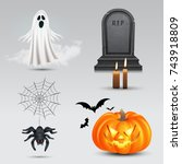 halloween vector set with... | Shutterstock .eps vector #743918809