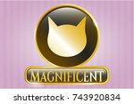 Gold Badge With Cat Face Icon...