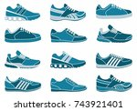 set of icons of sports shoes.... | Shutterstock .eps vector #743921401