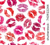 seamless pattern with lipstick... | Shutterstock . vector #743922244