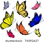 Stock vector set of butterflies isolated on white background in vector format very easy to edit individual 74392627
