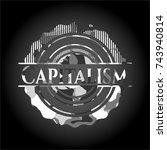 capitalism on grey camo texture | Shutterstock .eps vector #743940814