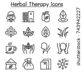 herbal therapy   spa icon set... | Shutterstock .eps vector #743942227