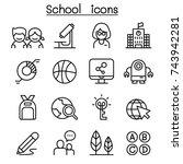school   education icon set in... | Shutterstock .eps vector #743942281