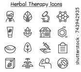 herbal therapy icon set in thin ... | Shutterstock .eps vector #743942935