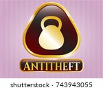 gold shiny emblem with... | Shutterstock .eps vector #743943055