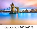 beautiful sunset on thames... | Shutterstock . vector #743944021