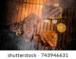 tasty and spicy ribs with... | Shutterstock . vector #743946631