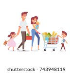 happy family shopping   parents ... | Shutterstock .eps vector #743948119