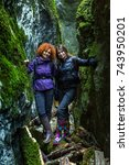 girlfriends in holiday hiking... | Shutterstock . vector #743950201