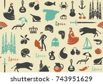 seamless background with... | Shutterstock .eps vector #743951629