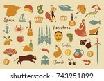 traditional symbols of culture... | Shutterstock .eps vector #743951899