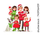 happy family at christmas.... | Shutterstock .eps vector #743956459