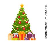 christmas tree and holiday... | Shutterstock .eps vector #743956741