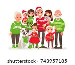 big happy family at christmas.... | Shutterstock .eps vector #743957185