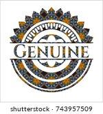 genuine arabic style emblem.... | Shutterstock .eps vector #743957509