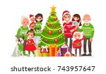 big happy family and christmas... | Shutterstock .eps vector #743957647