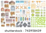 set of landscape elements.... | Shutterstock .eps vector #743958439