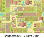 seamless pattern. farm view...   Shutterstock .eps vector #743958484