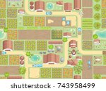 seamless pattern. farm view... | Shutterstock .eps vector #743958499