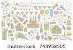 birthday party elements vector... | Shutterstock .eps vector #743958505
