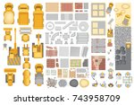 vector set. construction. top... | Shutterstock .eps vector #743958709