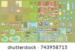 vector set. green city. top... | Shutterstock .eps vector #743958715