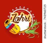 happy lohri background for... | Shutterstock .eps vector #743960725