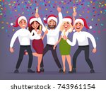 happy group of business people... | Shutterstock .eps vector #743961154