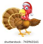 cartoon christmas turkey bird... | Shutterstock . vector #743963161