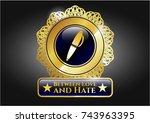 gold badge or emblem with pen... | Shutterstock .eps vector #743963395