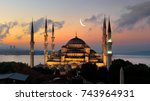 illuminated turkish blue mosque ... | Shutterstock . vector #743964931