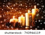 vintage lantern with burning... | Shutterstock . vector #743966119