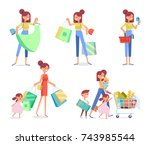 women's shopping vector set.... | Shutterstock .eps vector #743985544