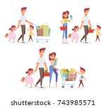 happy family shopping in... | Shutterstock .eps vector #743985571