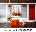 interior of an autumn patio....   Shutterstock . vector #743987749