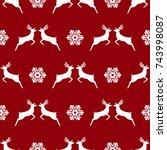 pattern  christmas reindeer and ... | Shutterstock . vector #743998087