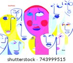 person with anxiety attack.... | Shutterstock . vector #743999515