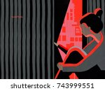 person with anxiety attack.... | Shutterstock . vector #743999551